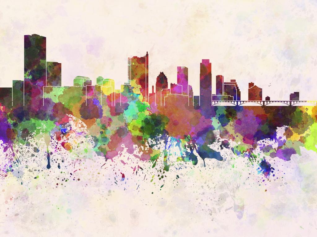 Austin skyline in watercolor background